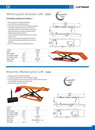 i-Lift/Hu-Lift Motorcyle Lift Table TC/TE