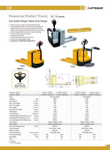 i-Lift/Hu-Lift Powered Pallet Truck TE/TK