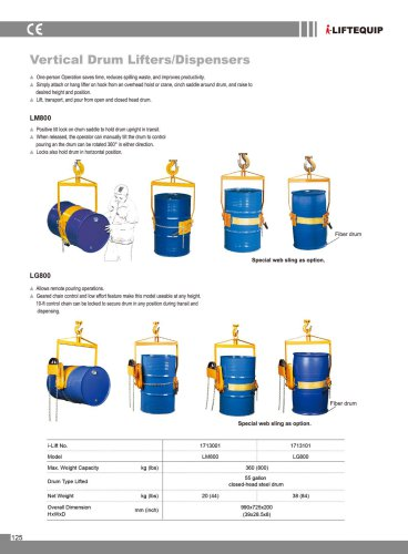i-Lift/Hu-Lift Vertical Drum Lifters/Dispensers LM/LG