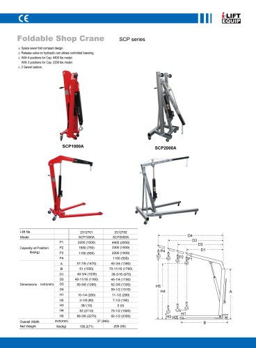 MATERIAL HANDLING EQUIPMENT/I-LIFT/FOLDABLE SHOP CRANE/SCP SERIES