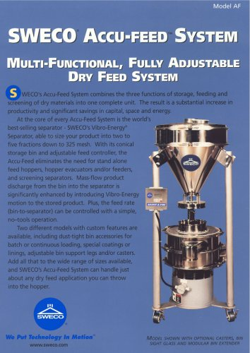 Sweco Accu-Feed System - Multi-Functional, Fully Adjustable Dry Feed System