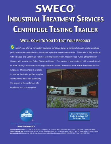 Sweco Industrial Treatment Services Centrifuge Testing Trailer