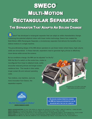 SWECO® MULTI-MOTION RECTANGULAR ECTANGULAR SEPARATOR