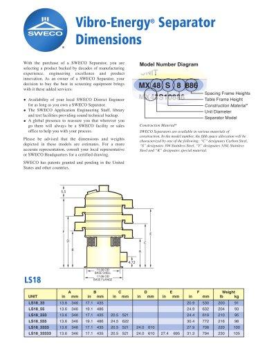 Vibro-Energy® Separator Dimensions