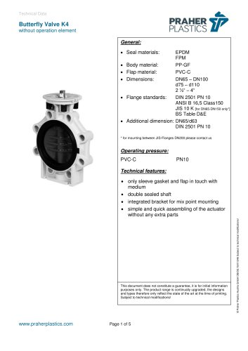 Butterfly Valve K4 without operation element