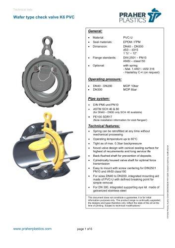 Praher Wafer Check Valve K6 PVC-U