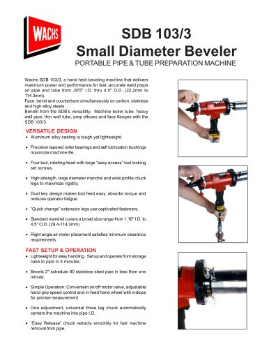 "SDB 103/3  Beveler face, bevel and counter bore 1.16"" I.D. through 4.5"" O.D (29.4mm – 114.3mm). Air-, electric- and hydraulic-powered."