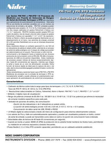 PM-THC y PM-RTD Medidores de Temperatura: Entrada de TERMOPAR o RTD