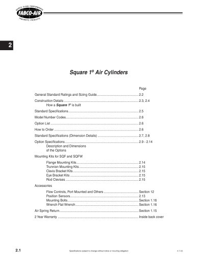 Square 1® Air Cylinders