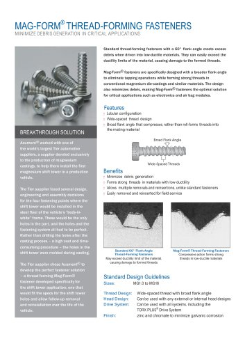 MAG-FORM® THREAD-FORMING FASTENERS