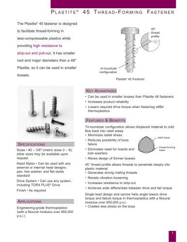 Plastite® 45 Thread-Forming Fastener