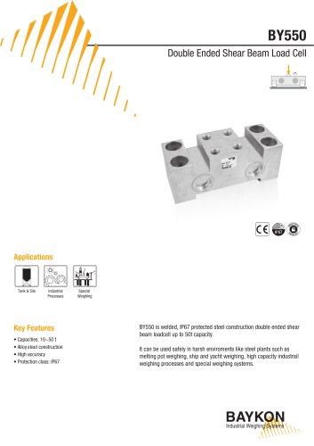 Baykon BY550 Double Ended Shear Beam Load Cell