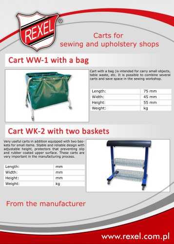 Industrial carts/trolleys for sewing and furniture shops