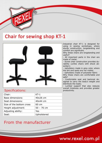 Industrial chairs REXEL for sewing factories
