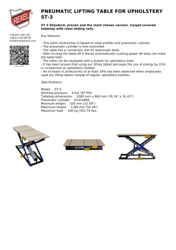 PNEUMATIC LIFTING TABLE FOR UPHOLSTERY ST-3