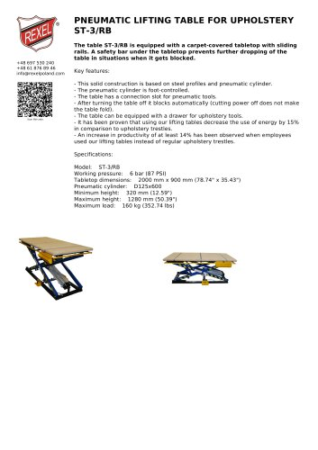PNEUMATIC LIFTING TABLE FOR UPHOLSTERY ST-3/RB