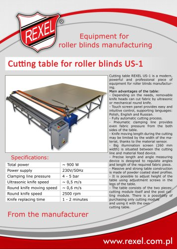 Roller blinds manufacturing equipment REXEL
