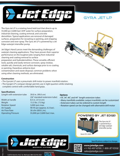 Gyra Jet LP - Waterjet Cleaning and Surface Preparation Tool, Water Blaster