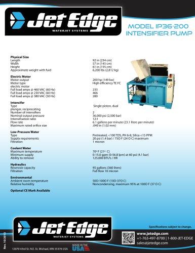 IP36-200 WATERJET INTENSIFIER PUMP