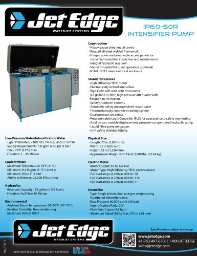 iP60-50R Water Jet Intensifier Pump - Redundant Intensifier