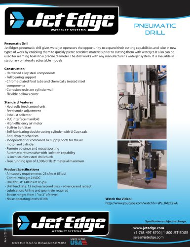 PNEUMATIC DRILL FOR WATERJET CUTTING SYSTEMS