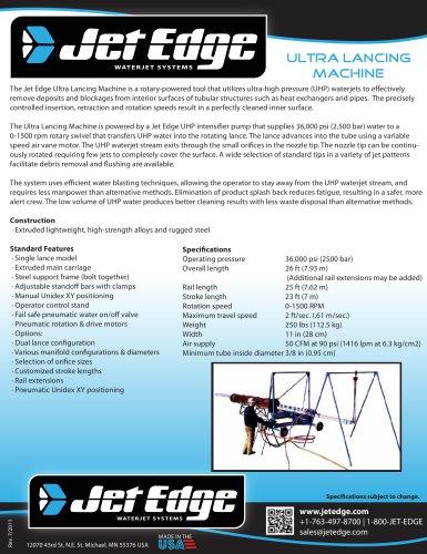 Ultra Lancing Machine - Rotary Waterjet Tool