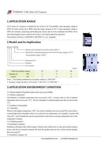 CJX1 Series AC Contactor