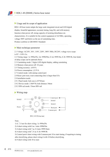 RDL1-48(DH48L) Series hour meter