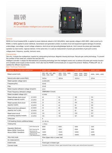 RDW5 Air Circuit Breaker-Intelligent and universal type(5series)