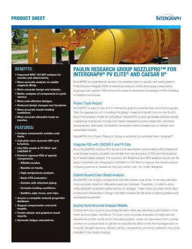 PAULIN RESEARCH GROUP NOZZLEPRO™ FOR  INTERGRAPH ®  PV ELITE ®  AND CAESAR II ®