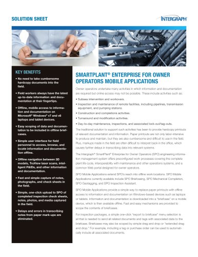SmartPlant® Enterprise for Owner Operators Mobile Applications