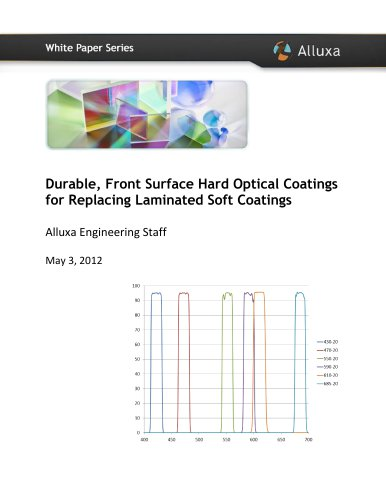 Durable, Front Surface Hard Optical Coatings For Replacing Laminated Soft Coatings
