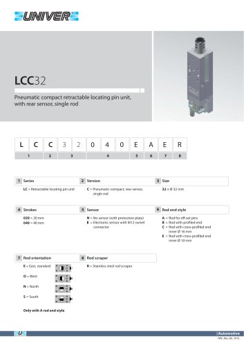 LCC32_Pneumatic compact retractable locating pin unit, with rear sensor, single rod