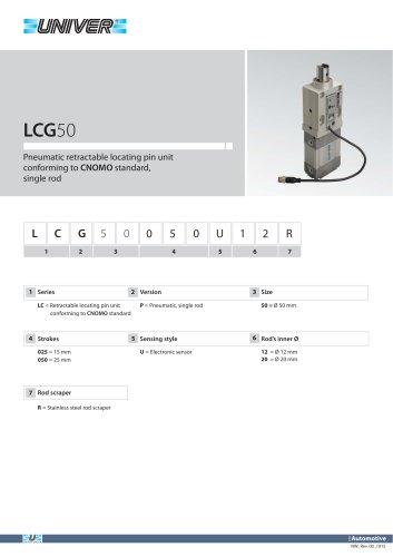 LCG50_Pneumatic retractable locating pin unit conforming to CNOMO standard, single rod