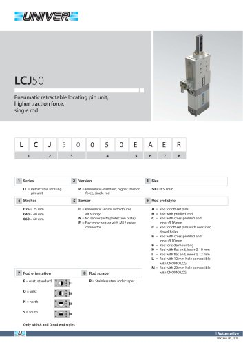 LCJ50_Pneumatic retractable locating pin unit, higher traction force,  single rod
