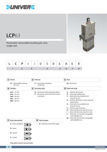 LCP63_Pneumatic retractable locating pin unit, single rod