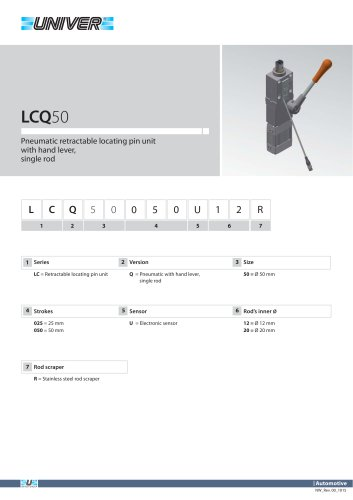 LCQ50_Pneumatic retractable locating pin unit with hand lever,  single rod