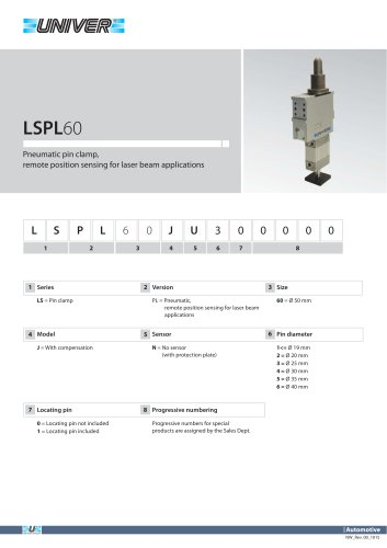 LSPL60_Pneumatic pin clamp,  remote position sensing for laser beam applications