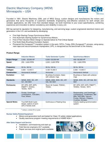WEG Electric Machinery Overview