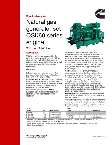 Natural gas generator set QSK60 series engine