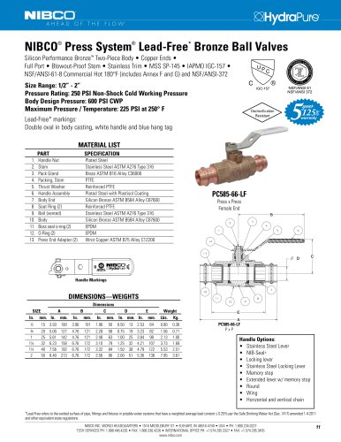 NIBCO ® Press System ® Lead-Free * Bronze Ball Valves