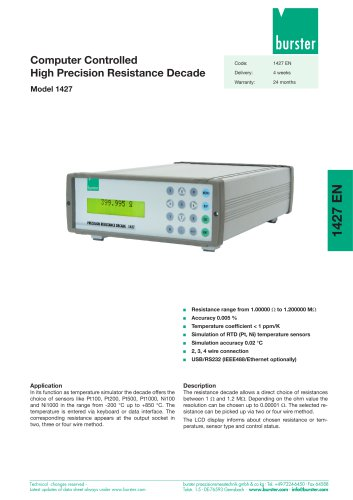 Data-Sheet - Computer Controlled High Precision Resistance Decade Model 1427