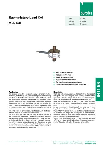 Subminiature Load Cell Model 8411