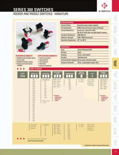 300 Series Miniature Rocker and Paddle Switches