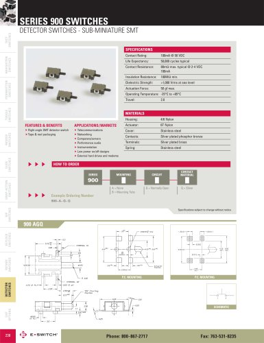 900 Series Sub-Miniature SMT Detector Switch