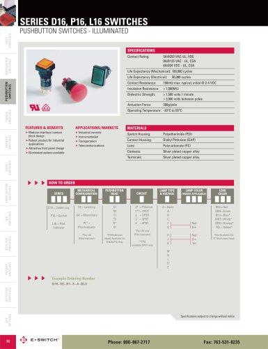 D16 Series Illuminated Pushbutton Switches