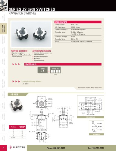 JS5208 Series 5-position Navigation Switch