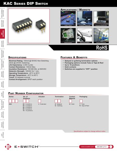 KAC Series Piano DIP Switches