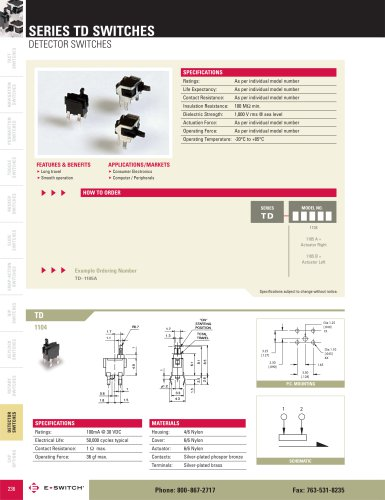 TD Series Detector Switches