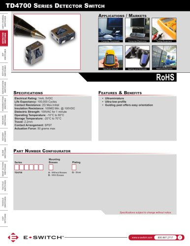 TD4700 Series Ultraminiature Detector Switch